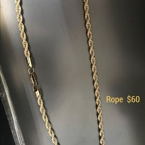 Other - 5mm Mens rope chain   14k Gold Plated Stainless